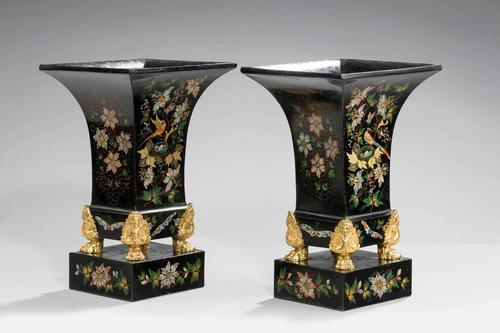 Pair of Mid 19th Century Tole Vases (1 of 6)