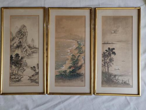 Three Japanese original ink/ watercolour lanscape paintings circa mid. 20th Century (1 of 20)