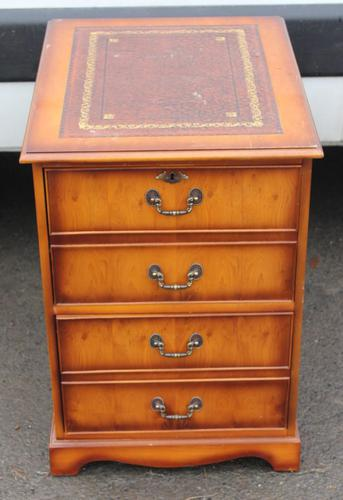 1960s Small Yew Wood Filing Cabinet with Red Leather Inset (1 of 3)