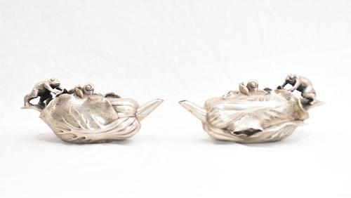 Pair Antique Chinese Tea Pots 1930 Cantonese Pewter (1 of 11)