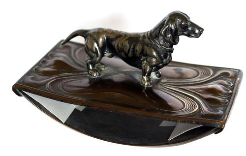 Art Nouveau WMF Style Metal Blotter with Dachshund Finial (1 of 5)