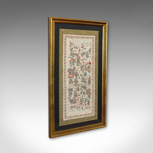 Antique Framed Silk Panel, Oriental, Embroidered, Decorative, 100 Children, 1900 (1 of 1)