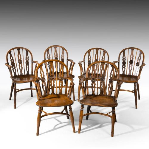 Attractive Matched Set of Six Early 19th Century  Thames Valley Yew Tree Chairs (1 of 5)