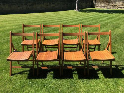 Antique Set of 8 Folding Beech Chairs (1 of 9)