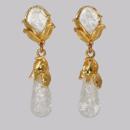 "Yves Saint Laurent Earrings Rive Gauche Dangle 3"" Long Vintage YSL Glass Earrings (1 of 7)"