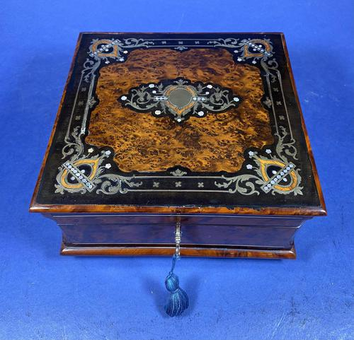 Victorian  French Burr Cedar Jewellery Box with ebonised fruitwood and original interior (1 of 13)