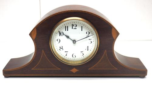 Impressive Solid Mahogany Edwardian Timepiece Clock Hat Shaped With Satinwood Inlaid Decoration (1 of 8)
