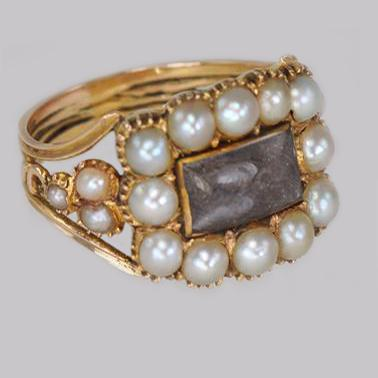 Georgian 15ct Gold Pearl Antique Memorial English Ring c.1800 (1 of 20)