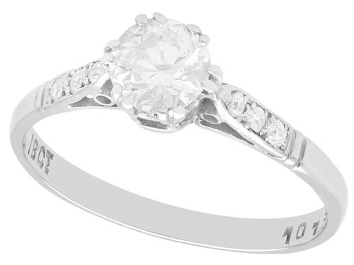 0.67ct Diamond & 18ct White Gold Solitaire Ring c.1925 (1 of 9)