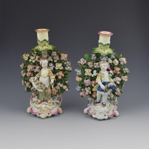 Derby Porcelain Pair Bocage Candlestick Figures Children Gardeners c.1770 (1 of 12)