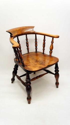 Victorian Smokers Bow or Captains Chair, Elm / Beech - Large Seat, Wide Arms (1 of 13)