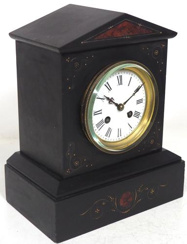 Antique French Slate Mantel Clock 8-Day Striking Mantle Clock with Red Marble & Gilt Decoration (1 of 9)
