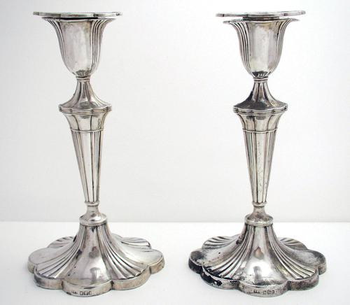 Pair of Antique 1903 Edwardian Solid Sterling Silver Candlesticks Candle Holders. English Sheffield (1 of 10)