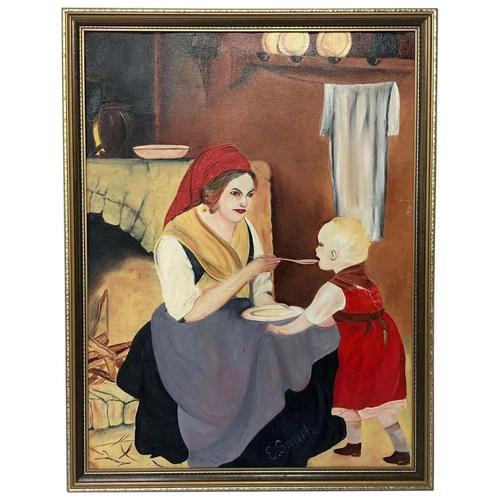 Oil Folk Art Painting Dutch Mother In Kitchen Feeding Her Child (1 of 13)