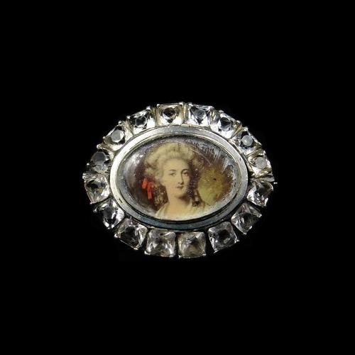 Antique Old Cut Paste Portrait Silver Oval Navette Brooch Pin (1 of 5)