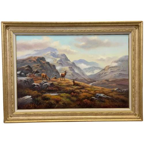 """Oil Painting Scottish Stags """"Denizens of the Highlands"""" Signed Wendy Reeves (1 of 45)"""