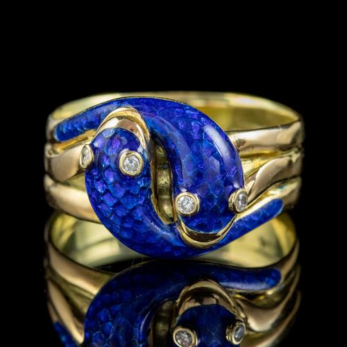 Antique Victorian Diamond Blue Enamel Snake Ring 18ct Gold Dated 1894 (1 of 7)