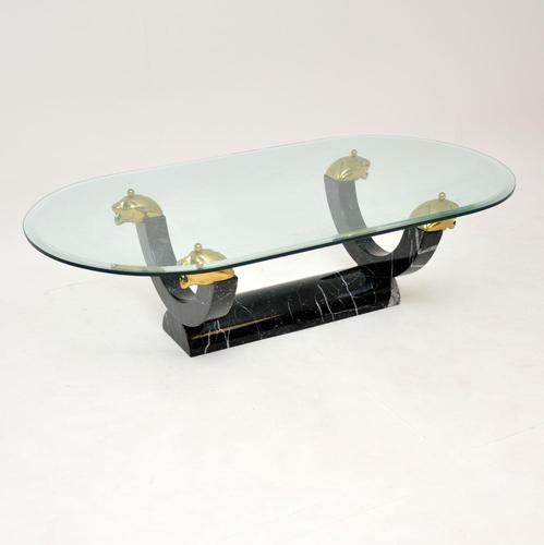 1970's Vintage Marble Glass & Brass Coffee Table (1 of 8)