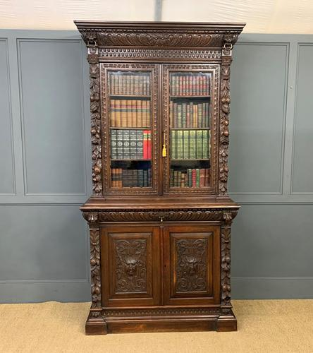 Imposing Carved Oak Bookcase (1 of 23)