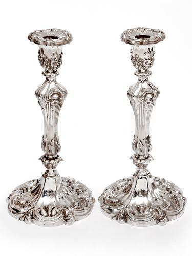 Pair of Decorative Victorian Silver Plated Candle Sticks in a High Rococo Form (1 of 4)