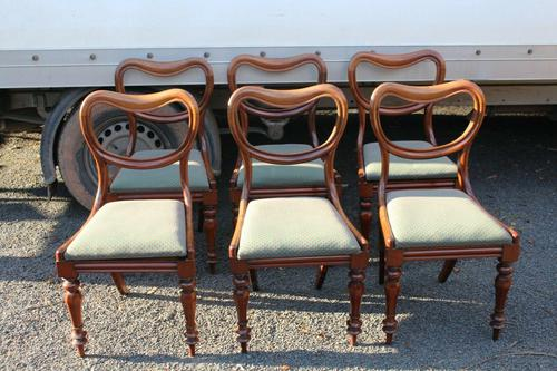 1850s Set 6 Victorian Mahogany Dining Chairs with Pale Green Upholstery (1 of 3)
