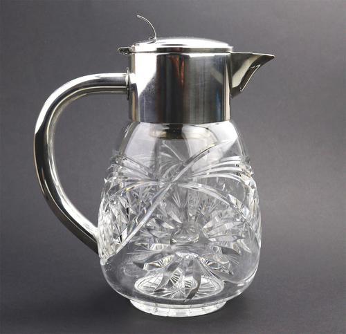 Substantial WMF Deep Cut Glass & Silver Plate Cooling Lemonade Jug c.1935 (1 of 10)