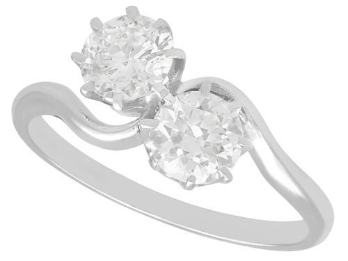 1.29ct Diamond & Platinum Twist Ring - Antique c.1910 (1 of 9)