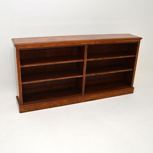 Antique Victorian Burr Walnut Double Open Bookcase (1 of 12)