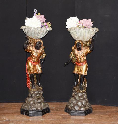 Pair of Venetian Blackamoor Figurines - Antique Clam Shell Planter Stands (1 of 11)