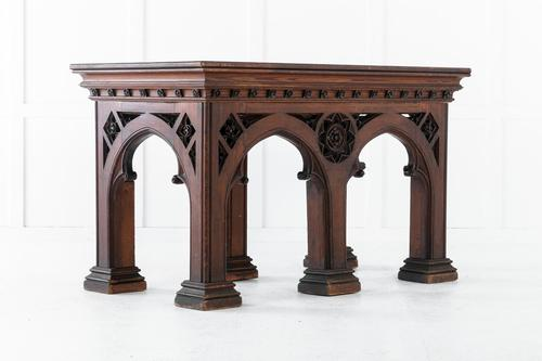 19th Century Victorian Gothic Pine Console Table (1 of 9)