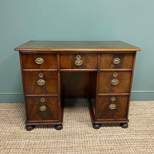Small Mahogany Victorian Antique Pedestal Desk (1 of 7)