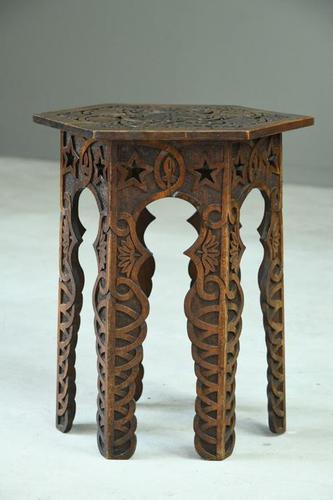 Moorish Chip Carved Octagonal Occasional Table (1 of 13)