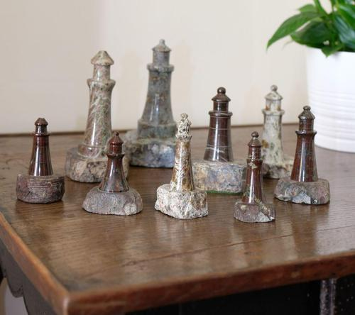 Rare Marble Collection of 9 Carved Lighthouse (1 of 15)