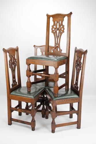 Set 4 Edwardian Arts & Crafts Oak Dining Chairs (1 of 13)