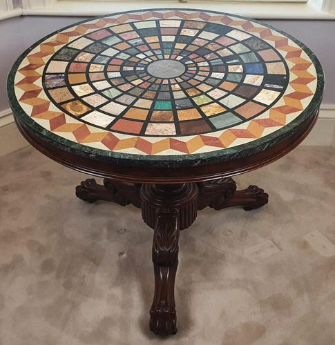 19th Century Mahogany Based Marble Specimen Topped Centre Table (1 of 4)