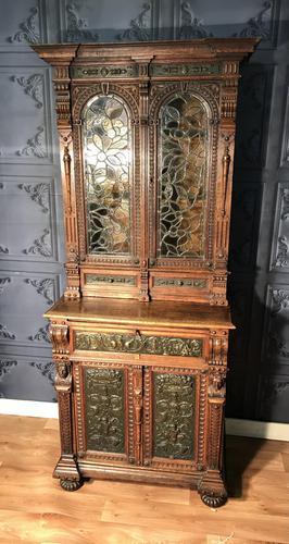 Victorian Carved Oak Secretaire Bookcase (1 of 25)