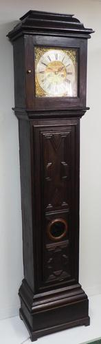 18th Century English Longcase Clock in Oak Case Silver Brass Dial Signed John Taylor (1 of 6)
