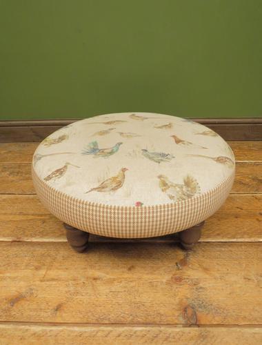 Voyage Maison Round Footstool, Game Bird Fabric (1 of 17)