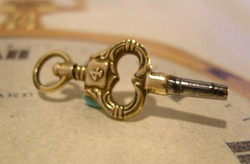 Georgian Pocket Watch Fob Key 1830s Antique Brass Heart Key Size 4 (1 of 10)