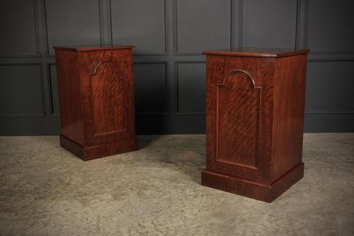 Large Pair of Victorian Fiddleback Mahogany Pedestal Cabinets (1 of 11)