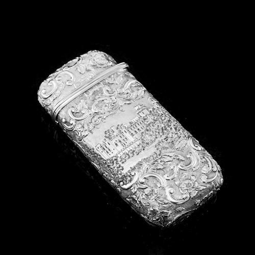 "Antique Solid Silver Victorian Cigar Cheroot Case ""Castle Top"" Windsor Castle Design - Nathaniel Mills 1844 (1 of 12)"