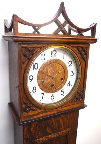 Grandmother Clock Fine Musical Longcase Clock Oak & White Dial c.1930 (1 of 14)