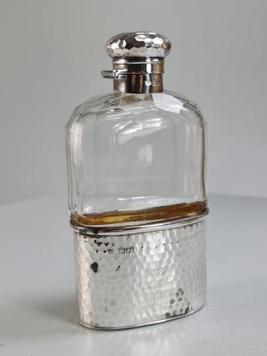 Beautiful HM Silver & Cut Glass Hip Flask London 1904 (1 of 14)