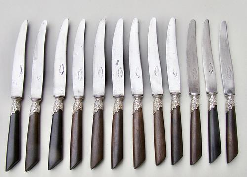 Set of Twelve 19th C. French Table Knives With Ebony Handles, Silver Plated Ferrules And Steel Blades, Circa 1890 (1 of 5)