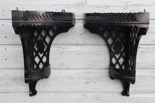 Aesthetic Movement, pierce-work corner shelves with galleries (a pair) c.1880 (1 of 35)