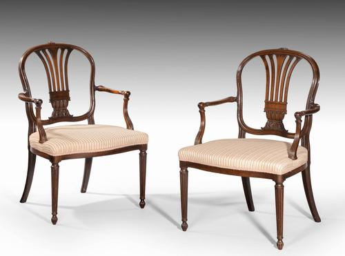 Pair of George III Period Mahogany Elbow Chairs by Robert Manwaring (1 of 7)