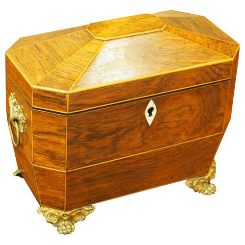 George IV Inlaid Rosewood Tea Caddy (1 of 9)