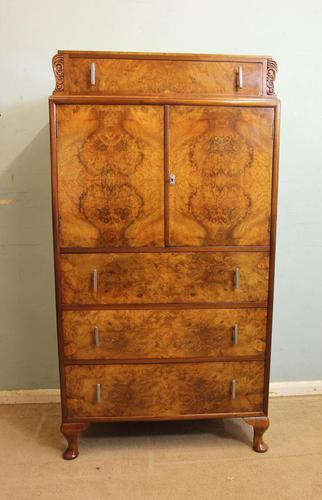 Burr Walnut Art Deco Tallboy Chest of Drawers (1 of 12)