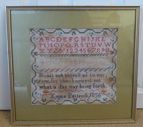 1856 Antique Needlework Sampler Emma Pattrick (1 of 8)