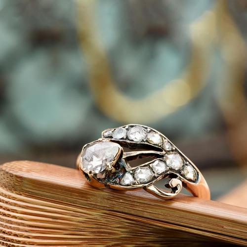 The Antique Victorian Eleven Diamond Tulip Ring (1 of 5)